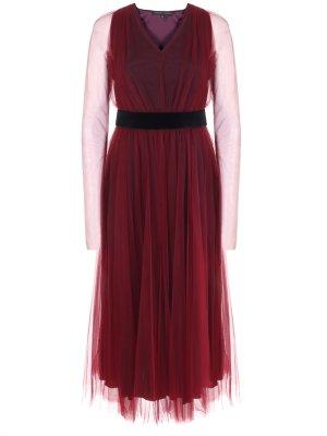 Платье-миди из тюля TEREKHOV. Цвет: бордовый