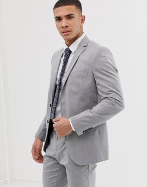 Светло-серый приталенный пиджак Selected Homme