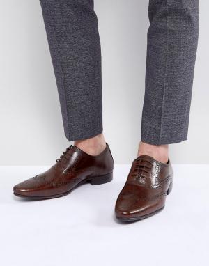 Коричневые кожаные оксфордские броги ASOS DESIGN. Цвет: коричневый