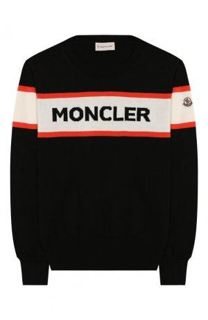 Хлопковый пуловер Moncler Enfant. Цвет: чёрный
