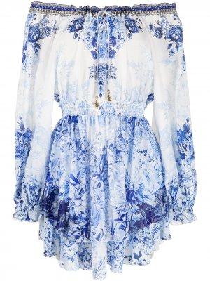 Платье с приспущенными плечами и цветочным принтом Camilla. Цвет: белый