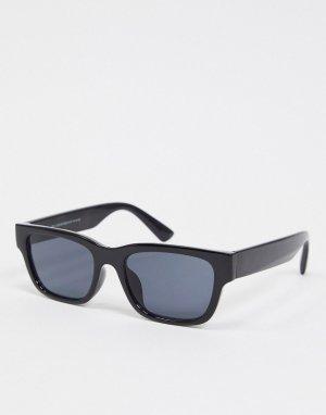 Черные очки в узкой квадратной оправе -Черный New Look