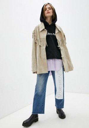 Куртка кожаная Maison Margiela. Цвет: бежевый