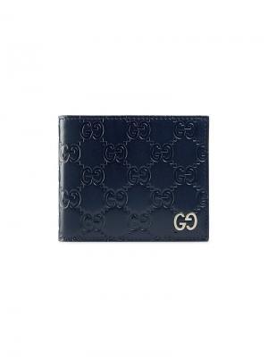 Бумажник Signature Gucci. Цвет: синий