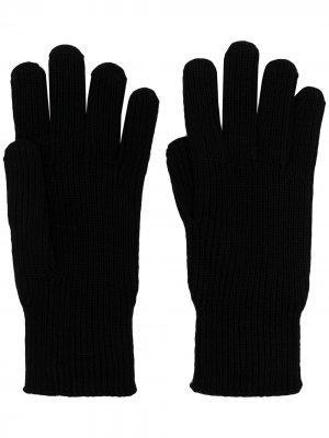 Шерстяные перчатки с нашивкой-логотипом Moncler. Цвет: черный