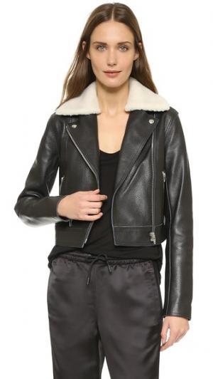Кожаная байкерская куртка с воротником на подкладке из искусственного меха T by Alexander Wang. Цвет: черно-белый