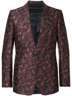 Пиджак с цветчоным принтом Gieves & Hawkes. Цвет: синий