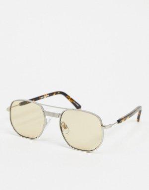 Солнцезащитные очки-авиаторы в серебристой оправе -Серебряный Spitfire