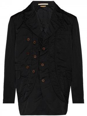 Однобортный пиджак со сборками Comme Des Garçons Homme Plus. Цвет: черный