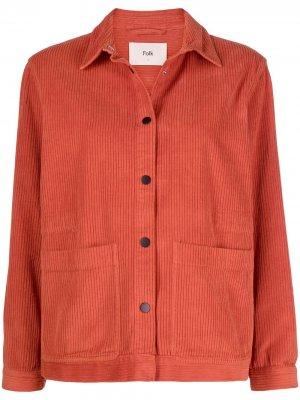 Вельветовая куртка-рубашка Folk. Цвет: оранжевый
