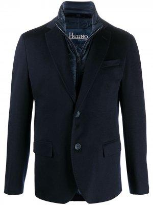 Однобортный пиджак с дутыми вставками Herno. Цвет: синий