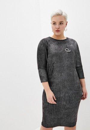 Платье Louitex с брошью. Цвет: серебряный