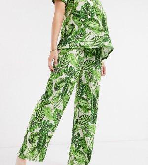 Зеленые пижамные брюки с пальмовым принтом ASOS DESIGN Maternity mix & match-Мульти