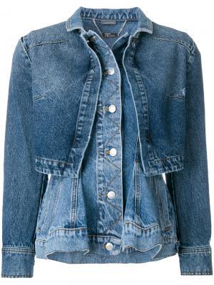 Джинсовая куртка с баской Alexander McQueen. Цвет: синий