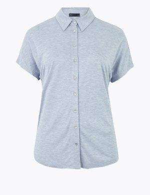 Рубашка прямого покроя с коротким рукавом из джерси M&S Collection. Цвет: шамбре