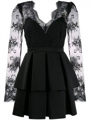 Кружевное платье с плиссированным подолом Aniye By. Цвет: черный