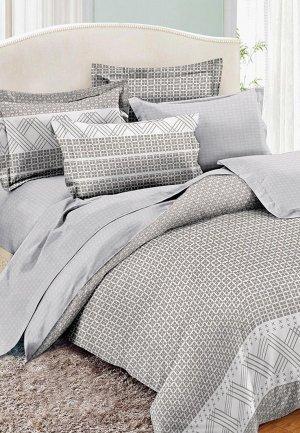 Постельное белье Евро Cleo Home Pure Cotton. Цвет: серый