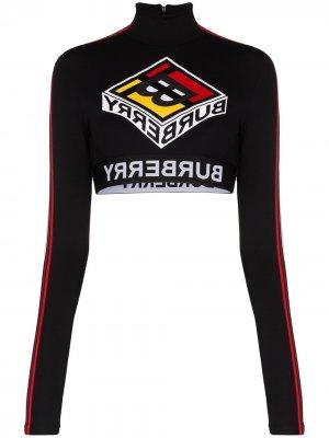 Укороченный топ с логотипом Burberry. Цвет: черный