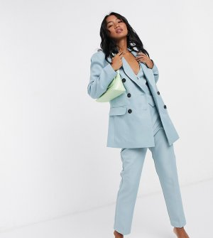 Синий двубортный пиджак от комплекта-тройки ASOS DESIGN Petite