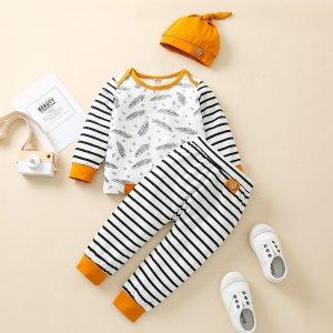 Детский в полоску и с принтом перьев Пуловер & Спортивные брюки Шапка SHEIN. Цвет: черный и белый