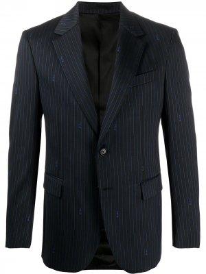 Пиджак в тонкую полоску с логотипом Versace. Цвет: черный