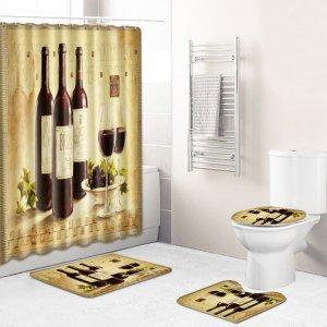 1шт Коврик для ванной или занавеска душа с принтом вина SHEIN. Цвет: многоцветный