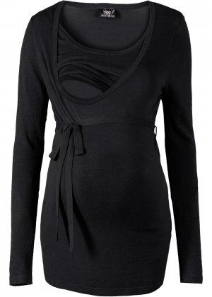 Пуловер для будущих и кормящих мам bonprix. Цвет: черный