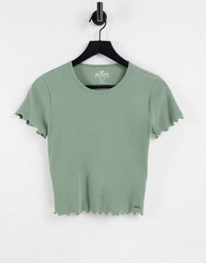 Оливковая футболка укороченного кроя с волнистыми краями -Зеленый цвет Hollister