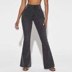 Расклешенные джинсы SHEIN. Цвет: темно-серый