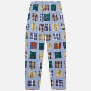 Мужские брюки Madras Patchwork Relaxed Stussy. Цвет: голубой