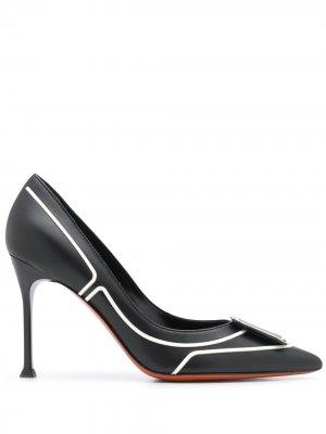 Туфли-лодочки с логотипом Baldinini. Цвет: черный