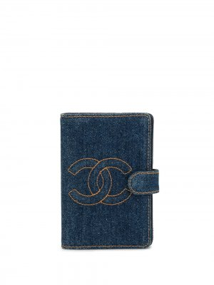Обложка для блокнота с логотипом CC Chanel Pre-Owned. Цвет: синий