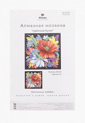 Мозаика алмазная Милато Цветной букет, 27 цветов, 20х20 см. Цвет: разноцветный