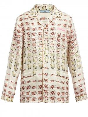 Пижама с принтом Prada. Цвет: бежевый