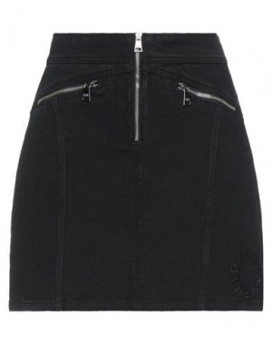 Джинсовая юбка KARL LAGERFELD. Цвет: черный