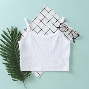 Белый Шнуровка С простым принтом Повседневный Майка SHEIN. Цвет: белый