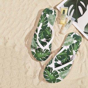 Слиперы с лиственным принтом SHEIN. Цвет: зелёные