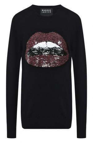 Шерстяной пуловер с пайетками Markus Lupfer. Цвет: темно-синий