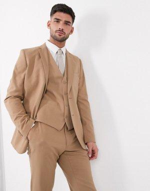 Узкий фланелевый пиджак wedding-Бежевый French Connection