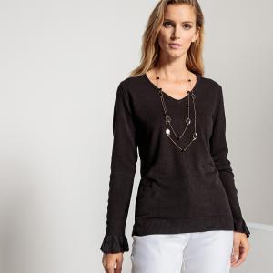 Пуловер с V-образным вырезом из ткани, напоминающей на ощупь кашемир ANNE WEYBURN. Цвет: бежевый,сиреневый,темно-синий,черный
