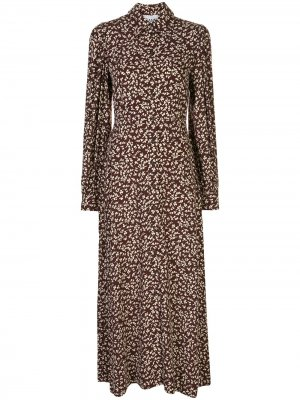 Платье с длинными рукавами и принтом GANNI. Цвет: коричневый