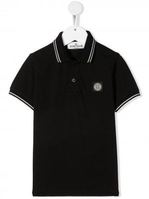 Рубашка поло с нашивкой-логотипом Stone Island Junior. Цвет: черный