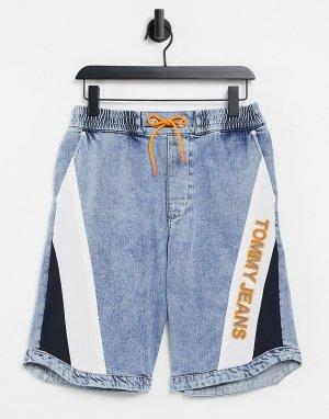 Эластичные джинсовые шорты голубого выбеленного цвета -Голубой Tommy Jeans