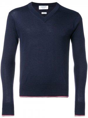 Кашемировый пуловер с V-образным вырезом Thom Browne. Цвет: синий