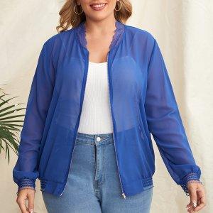 Прозрачная шифоновая куртка-бомбер размера плюс SHEIN. Цвет: синий