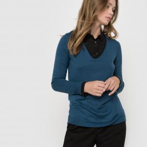 Пуловер с V-образным вырезом из смешанной ткани шерстью La Redoute Collections. Цвет: серый меланж