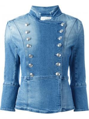 Джинсовая куртка в стиле милитари Pierre Balmain. Цвет: синий