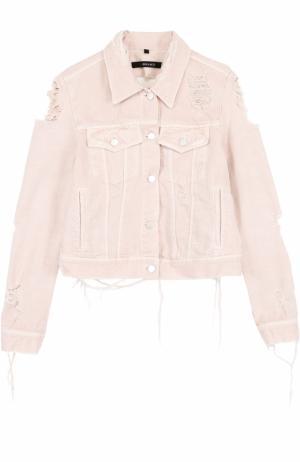 Укороченная джинсовая куртка с потертостями J Brand. Цвет: розовый