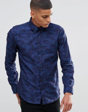Жаккардовая рубашка Junk De Luxe. Цвет: синий