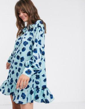 Свободное платье мини с завязкой на шее и принтом маков -Синий Glamorous